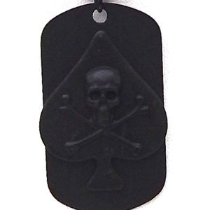 SKULL & BONES SPADE DOG TAG WITH CHAIN SHOWN
